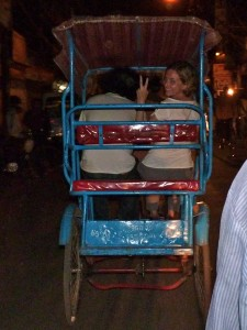 Riding a rickshaw in Delhi