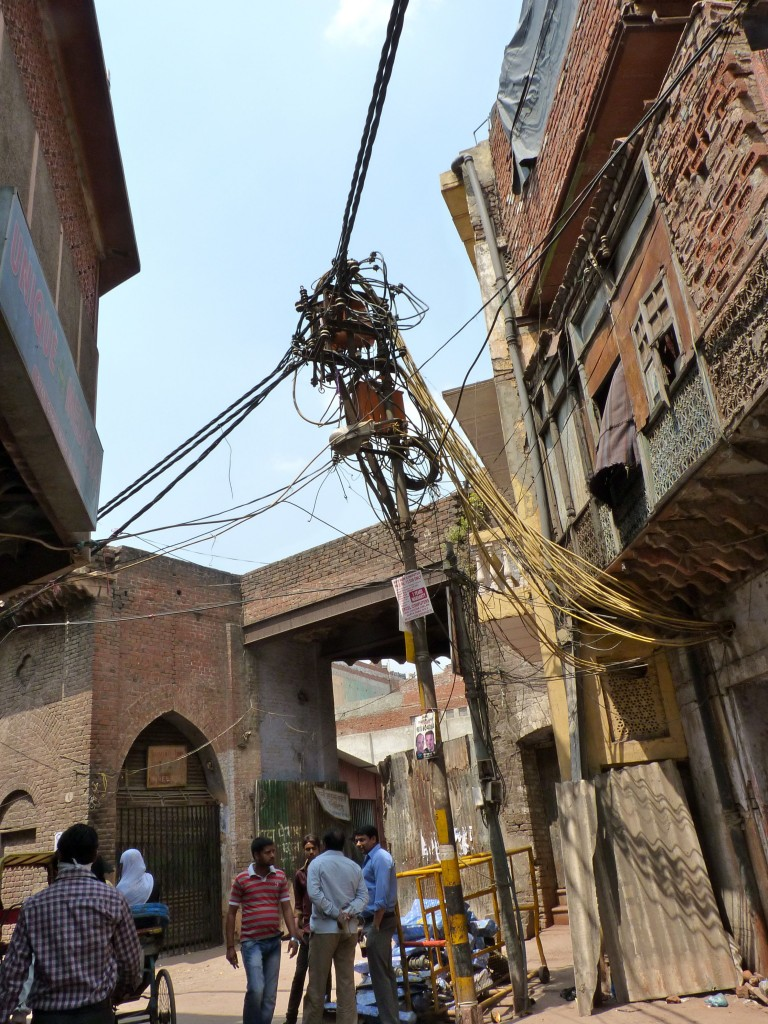 A mass of wires is the usual electrical installation in Old Delhi