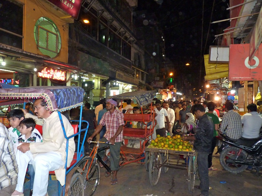 The liveliness of Old Delhi continues into the night