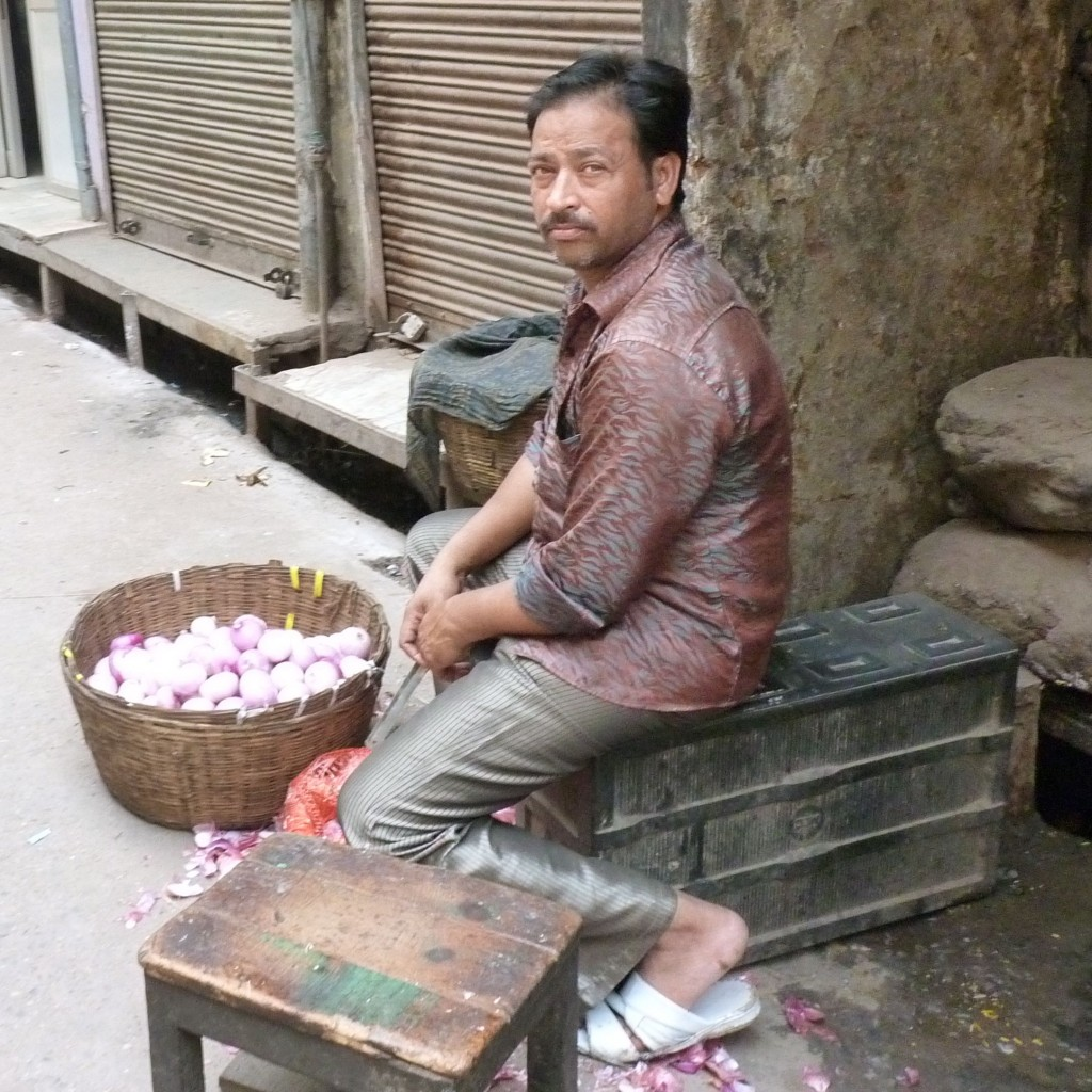 An elegant onion seller in Old Delhi