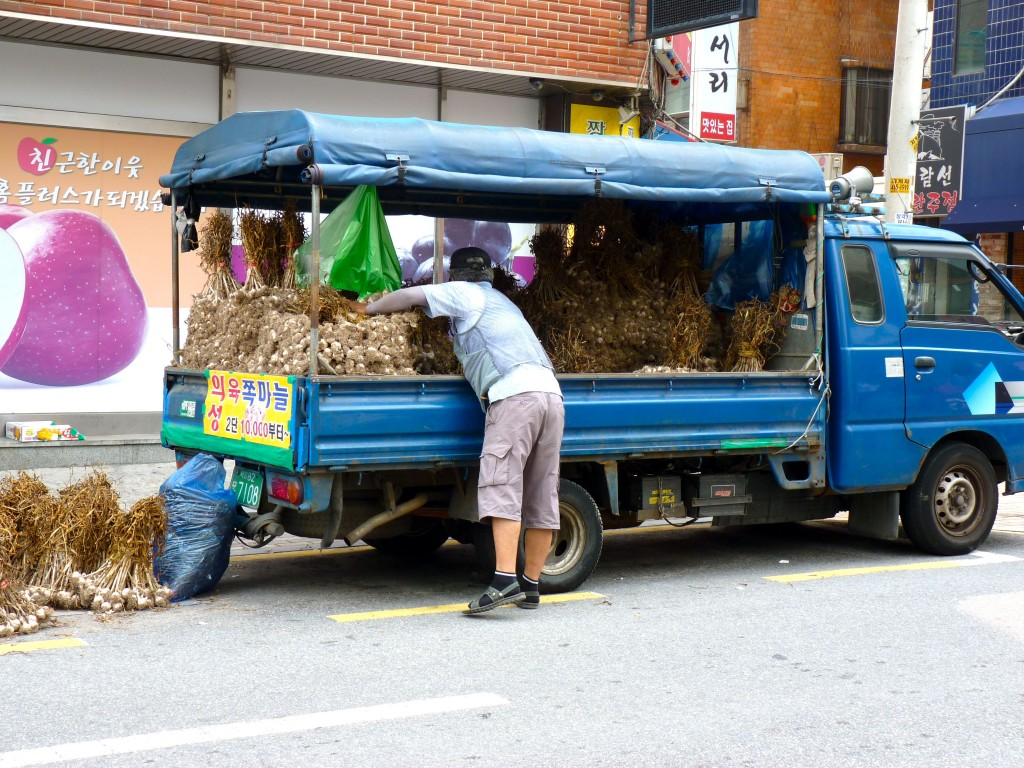 Pick-up truck full of garlic in Seoul